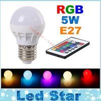 Wholesale New Arrival W RGB LED Lights Memory Color E27 Led Bulbs For Xmas KTV Party Lighting AC V IR Remote Control