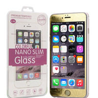 Wholesale 3D Diamond Color Mirror Tempered Glass Screen Protector mm chrome film for iphone6 iphone6 plus