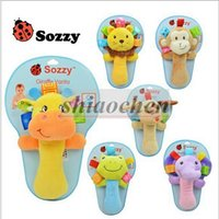 Wholesale Sozzy Baby Hand Bell Toys Newborn Animal Grasp Rattles BB Finger Stick Infant Plush Toys Kids Hand Grasp Stick Plush Finger Puppets B280