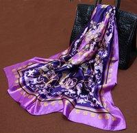 Cheap Scarf Women large satin square scarf 90 * 90 cm Emulation silk bandana headband spring autumn shawls scarf viscose hijab
