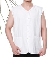 Wholesale Chinese traditional costume Wushu KongFu clothing coarse cloth T shirt vest white black