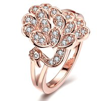 animal shapes peacock - Peacock Green Gold Rose Gold Fashion Star s Tears Zircon Petal Shape Soar Style Rings Thanksgiving Gifts