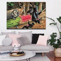 bear animal pictures - 1 Picture Combination Bears Play In Forest Broken Tree Wall Art Painting On Canvas Animal Pictures For Home Decoration