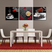 Конные фотографии Цены-Отделка стен Unframed 3 шт искусство картина Печать холст кофе чай лепесток розы лошадь гора сливы клубники Красный тульей дерево кран