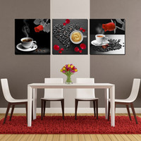 Wholesale Wall decoration Unframed Pieces art picture Canvas Prints Coffee tea rose petal horse mountain Plum strawberry Red crowned crane tree