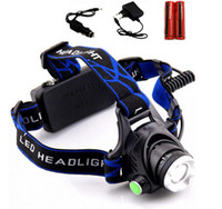 Wholesale Drop shipping LED Headlight CREE T6 Head lamp Torch Camping HeadLamp fishing light Flashlight Head Linterna Chargers with Battery