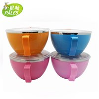 Wholesale colored stainless steel bowl Cup with a top Krean noodles household multi use high quality heat insulation double layer