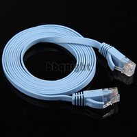 Wholesale 2M RJ45 CAT6 Flat Ethernet Patch Internet LAN Network Cable Wire Cord Blue INGT