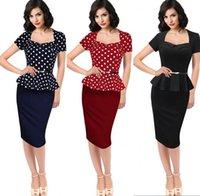 Wholesale 2016 Spring Fall Women Work Dresses Short Sleeves False two pieces Polka Dot Red Black Blue Peplum OL Wear To Work Cheap Pencil Dresses