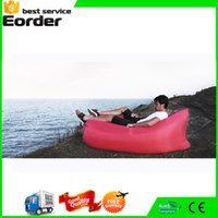 Wholesale 10 Secends Fast Inflable Laybag Sleeping Bag Air Sleep Camping Bed Portable Beach Air Hammock Nylon Sleep Bed Lazy Bag