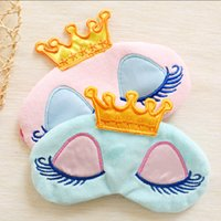 Wholesale 2016 New Portable Lovely Cute Cotton Long Eyelashes Crown Style Eye Shade Sleeping Eye Mask color optional