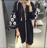 big lady clothing - 2016 Spring Autumn Long Blouse Loose Design V Neck Long Big Shirt Cotton Quality Lady Autumn Fashion Blouse Clothing Drop Shipping RX78