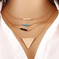 arrow love triangle - Multi Layer Gold Triangle Arrow Stone Beads Infinity Charm Bohemian Necklace Collar Choker with Pendant Women Statement Jewelry