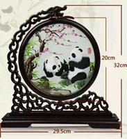 Wholesale arts and crafts with Chinese characteristics the panda embroidery furnishings