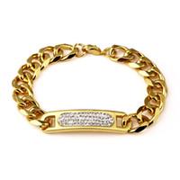 Wholesale Fashion Design Cuff Bracelets Metal K Gold Plated Link Chain Brand Jewelry Men Hip Hop Rock Cuff Bracelets Bangles