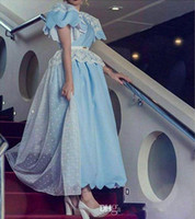 art puff - Long African Dresses Light Sky Blue Modest Prom Dresses with Peplum Lace Appliques Puff Sleeves Ankle length Formal Evening Party Gowns