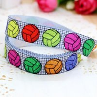 sports ribbon - 5 quot mm Colorful Sport Volleyball Fold Over Elastic FOE Printed Ribbon Hair Bows DIY Hair Accessories A2 F