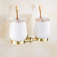 Wholesale New Modern accessories luxury European style Golden copper toothbrush tumbler cup holder wall mount bath product Toothbrush Holders