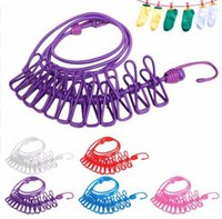 Wholesale Hotselling cm Portable Multifunctional Drying Rack Clips Cloth Hangers Steel Clothes Line Pegs Clothespins New