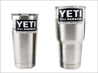 Wholesale 2016 Yeti oz oz Cups Cooler Stainless Steel YETI Rambler Tumbler Cup Car Vehicle Beer Mugs Double Wall Bilayer Vacuum Insulated DHL