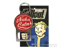 Wholesale Free DHL Game jewelry red colors Fallout Vault Boy Nuka Cola Bottle Opener Key chains LOGO Keyring