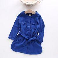 Wholesale 2016 Autumn Europe Fashion Baby Girls Cotton Linen Trench Coat O neck Belt Dust Coat Kids Children Outerwear Wind Coats
