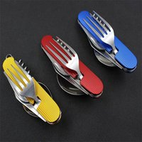 multi-tools and knives - Multifunctional Foldable Tableware Removable Combination Outdoor Tools foldable fork and spoon Swiss Army Fruit Knife New
