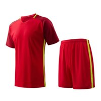 Cheap Red Men sports wear Athletic training fitness Jogging Clothing jersey and shorts adult running soccer team sets football kits