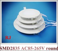 Wholesale LED flat light round recessed ceiling LED panel lamp light W W W W W W AC85 V SMD2835 embeded install CE ROHS