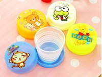 Wholesale NEW fashion creative child cartoon lovely mini cup stretch Folding water glass camping picnic portable cup Children s day gift ML water