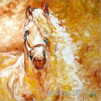 art equine - Hand painted Animal oil painting Modern Wall Decor art on canvas Unframed Golden Grace Equine Abstract x24inch