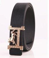 Wholesale Leather Belt Name Brands - 2016 fashion New Designer Famous Fashion Leather Popular Belt Brand Mens Belts Luxury Gold Horse Name with H Buckle Belt for Men