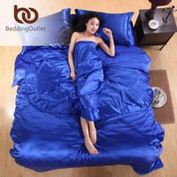 aquamarine bedding - Hot Sale Silk Bedding Set Aquamarine Solid Home Textile Noble Satin Linens Bedclothes Plain Sheet Set Twin Full Queen King