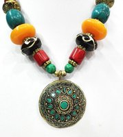 Wholesale Silver Turquoise Coral Tibetan Bracelet - 18'' Ethnic Tibetan Silver JEWELRY Turquoise Amber Necklace Pendant agate Bead oyzz-0012