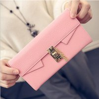 big buckle card - New Leather Wallet female Long Section Of European American Big Retro Leather Buckle Clutch Wallet Noble Romantic