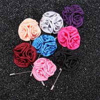 stick pins - New fashion men brooch flower lapel pin cm suit boutonniere fabric yarn pin colors button Stick rose brooches for wedding