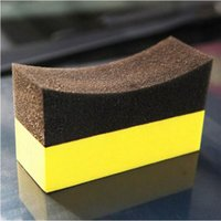 Wholesale 50pcs New arrive Vacuum compressed sponge U Shape Tire Wax Polishing Compound Sponge ARC Edge Sponge Tyre Brush car Cleaning