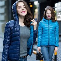 Wholesale 2016 Winter Two Side Female White Duck Down Jacket Women s Hooded Ultra Light Down Jackets Warm Winter Coat Parkas