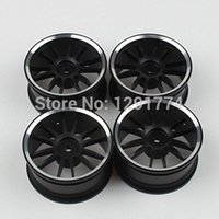 alloy rims for cars - Aluminum Alloy Wheel Rims With Spoke For RC On Road Car Black Pack Of