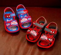 barefoot sandals pattern - Spider Man summer new children s shoes beach sandals Light emitting spring casual barefoot sandals pair LY