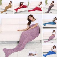 Wholesale Adult Mermaid Tail Blanket Soft Hand Crocheted Sofa Blanket Mermaid Tail Sleeping Bags air condition blanket CM LJJK447