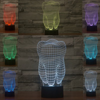 Wholesale 2017 Tooth Style D Night Lamp Optical Night Light Colorful Gift Night Light DC V Factory