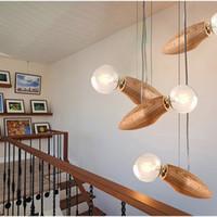 bees art - New design Modern Creative Cartoon Bee Lamp Balcony Small Wood loft Pendant Lamp cord Loft Hanging Light Bulb Stairs Decorated