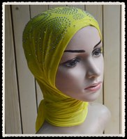 Wholesale A008 New Style Fashion Hot drill Sequins Big Size Women Inner Caps per dozen Mix colors Muslim Mini Hijabs