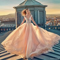 Wholesale blush wedding dresses with embroidery bodice beaded and tulle skirt bridal gowns v neckline wedding gown