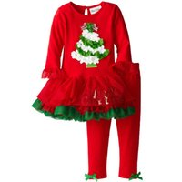 Санта костюмы Цены-2017 Зимняя New Years техники Дети девушки моды Рождество наряд День благодарения костюм Санта дерево мультфильм рисунок 2 шт комплект