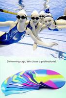 Wholesale Adult color waterproof silicone swimming cap head ear swimming cap for men women