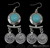beach chandelier - Bohemian style Turquoise carving flower Coin Statement Dangle Earring Ethnic Gypsy Beach India African Stone Jewelry