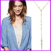 bianca necklace - Famous Brand Stella Long Necklaces Bijoux Letter SD Gold Silver And Rose Gold Dot Bianca Lariat Cone Awl Pendants For Women