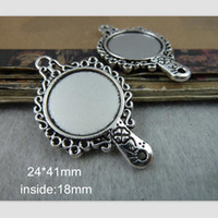 antique mirror tray - 30 Fit mm Round Cabochon Antique Silver Plated Vintage Style Alloy Mirror Shape Pendant Tray Settings